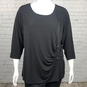 Calvin Klein Black Side Tie 3/4 Sleeve Top Size 2X